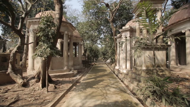 Sequence showing walking POV shots of South Park Street Cemetery in Kolkata (formerly Calcutta), West Bengal, India.