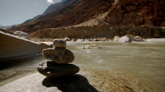 Sequence showing water flowing over rocks of the Upper Ganges in the Himalayas, Uttarakhand, India.
