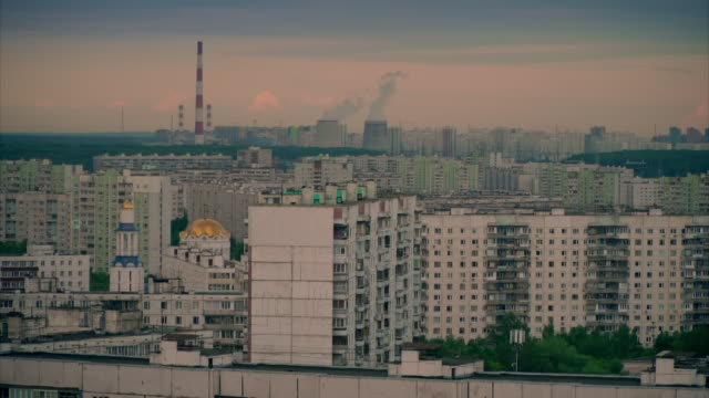 sequence showing wide shots of buildings in the suburbs of moscow, russia. - residential building stock-videos und b-roll-filmmaterial