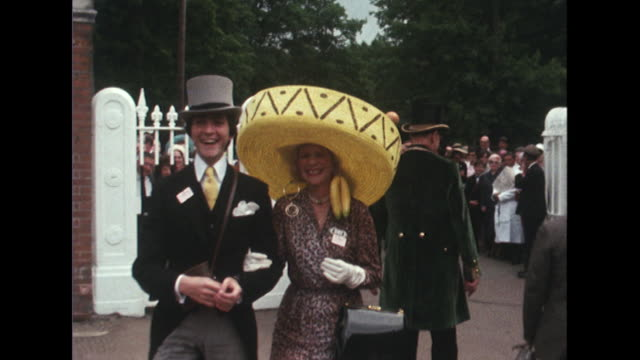 Sequence showing women arriving at Royal Ascot wearing various types of hats