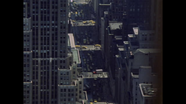 sequence showing yellow taxis in new york; 1971 - general view stock videos & royalty-free footage