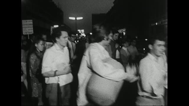 Sequence showing young people in London protesting against the Russian invasion of Czechoslovakia