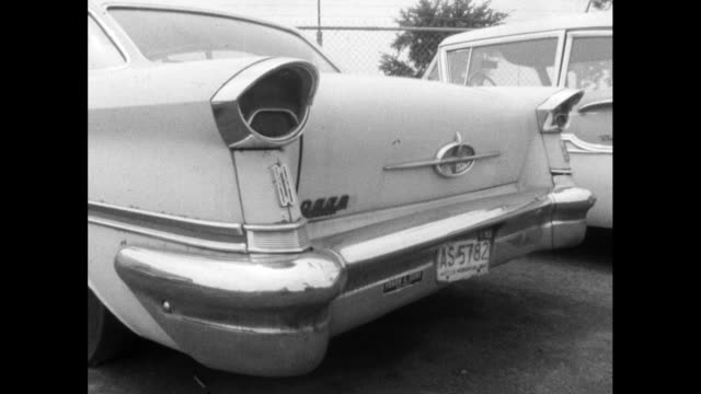 cu sequence tail fins on american vintage cars; 1964 - tail fin stock videos & royalty-free footage