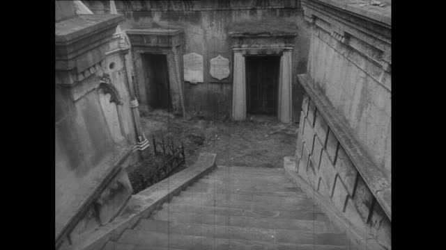 sequence travelling into the mausoleums at highgate cemetary. - highgate stock videos & royalty-free footage