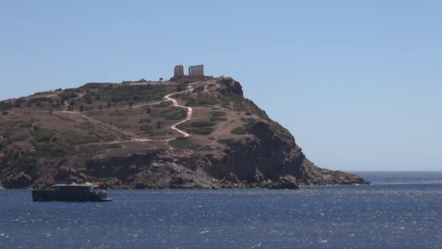 sequence wideshots temple of poseidon cape sounion greece - sounion stock videos and b-roll footage