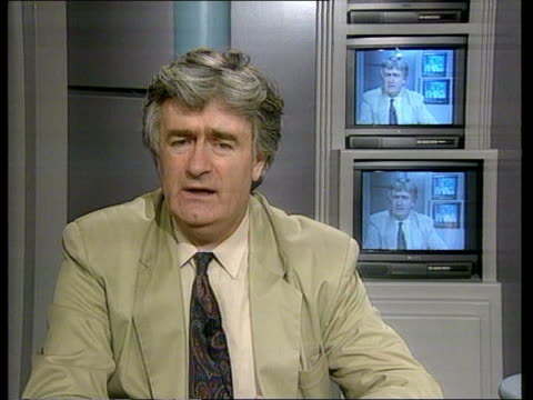 london itn via belgrade radovan karadzic intvwd on channel 4 news sof i'll find out who the disobedient belgrade people were who didn't allow the... - bosnia and hercegovina stock videos & royalty-free footage