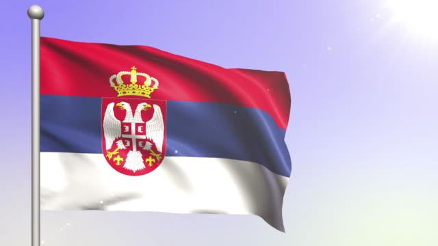 vídeos de stock e filmes b-roll de 4k serbia flag (loopable) - cultura da europa de leste