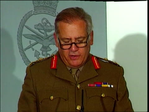 Kosovo NATO Air Strikes Continue POOL Ministry of Defence Sir Charles Guthrie press conference SOT Talks of British Harriers failing to strike...
