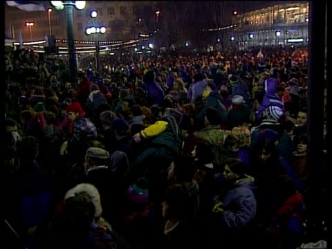 protests; serbia: protests; itn yugoslavia: serbia: belgrade: at night: large demonstration of opposition supporters and father christmas handing out... - serbia stock videos & royalty-free footage