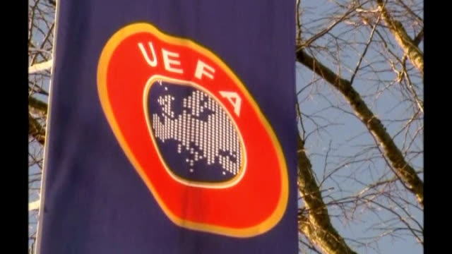 Serbian FA fined for racist abuse by fans during Under 21 match against England T24041227 Geneva UEFA logo on flag outside UEFA Headquarters UEFA...