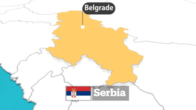 serbian map with flag - serbia stock videos & royalty-free footage