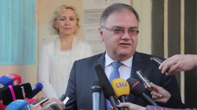 serbian member of the presidency of bosnia and herzegovina mladen ivani addresses media after casting his vote, on september 25 at one of local... - banja luka stock videos & royalty-free footage
