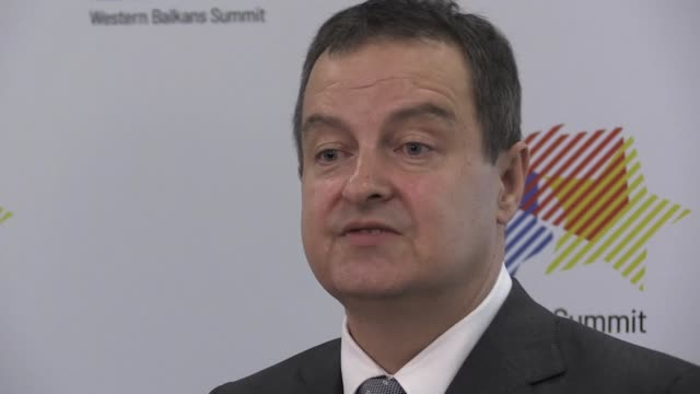 Serbian Minister of Foreign Affairs Ivica Dacic is seen speaking with jounralists at the Western Balkans Summit in Poznan Poland on July 4 2019