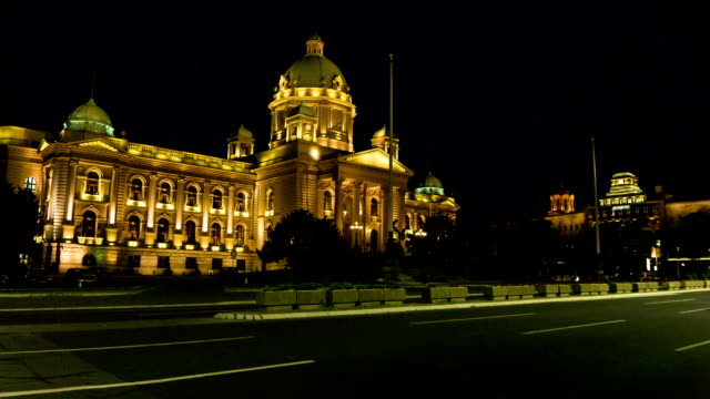 serbian parliament building in the center of belgrade capital city. - belgrade serbia stock videos and b-roll footage
