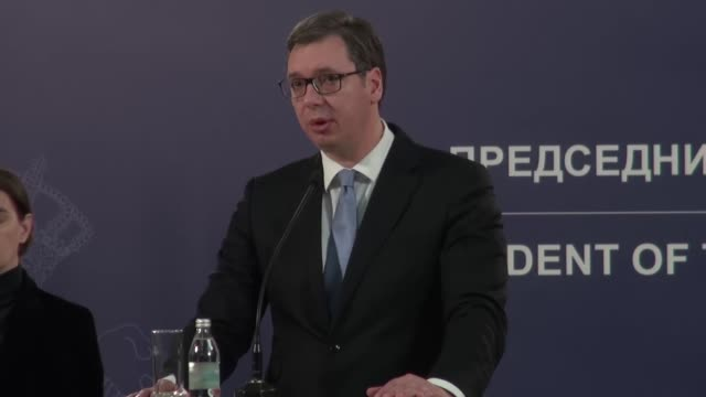 Serbian President Aleksandar Vucic holds a news conference at the Serbian Presidency in Belgrade Serbia on January 16 2018 Kosovo Serb politician...