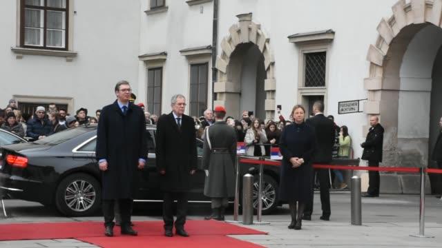 serbian president aleksandar vucic meets with austrian president alexander van der bellen at hofburg palace in vienna austria on february 02 2018 - österrikisk kultur bildbanksvideor och videomaterial från bakom kulisserna