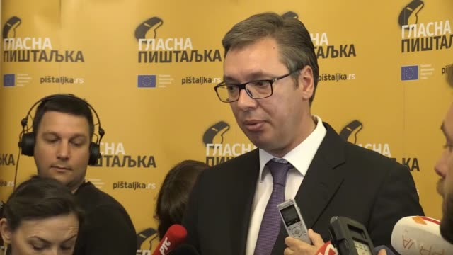 serbian president aleksandar vucic speaks to reporters following the conference in belgrade serbia on june 05 2018 aleksandar vucic said on tuesday... - president stock videos & royalty-free footage