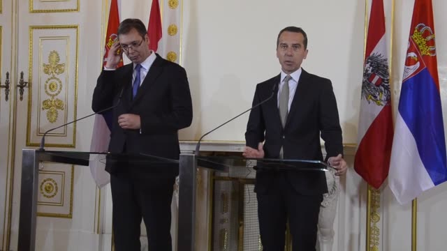 serbian prime minister aleksandar vucic and austrian chancellor christian kern hold a joint press conference following their meeting at the... - traditionally austrian stock videos & royalty-free footage