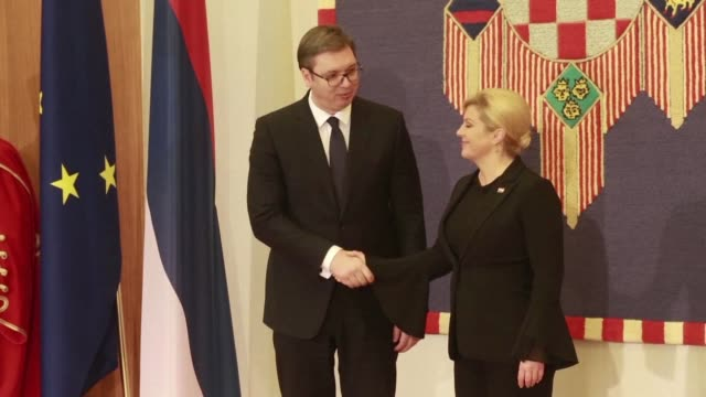 serbia's president aleksandar vucic arrives in zagreb on an official visit to croatia the first by a serb head of state since 2010 with the goal of... - zagreb stock videos and b-roll footage