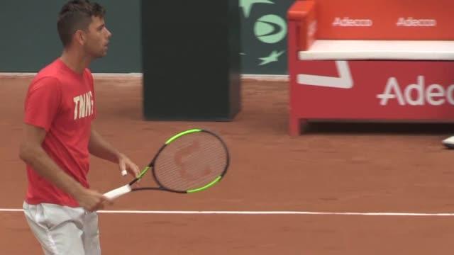 Serbia's tennis duo Nenad Zimonjic and Filip Krajinovic train ahead of their Davis Cup clash with France