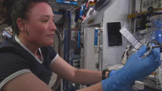 serena m auñónchancellor works inside the spaceship the mission of expedition 56 began on 1 june 2018 upon the departure of soyuz ms07 it ended on... - international space station stock videos & royalty-free footage