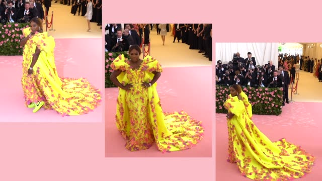 vídeos de stock e filmes b-roll de serena williams at the 2019 met gala celebrating camp: notes on fashion - arrivals at metropolitan museum of art on may 06, 2019 in new york city. - gala