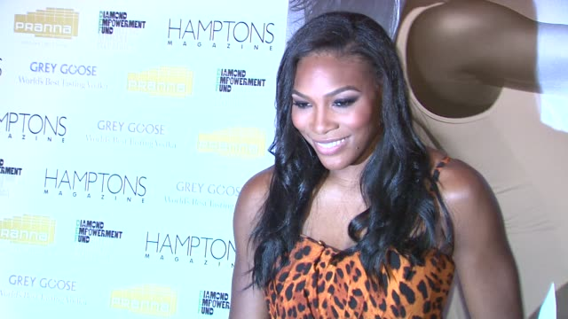 serena williams at the serena williams hosts hamptons magazine cover party with grey goose at new york ny. - グレイグース点の映像素材/bロール