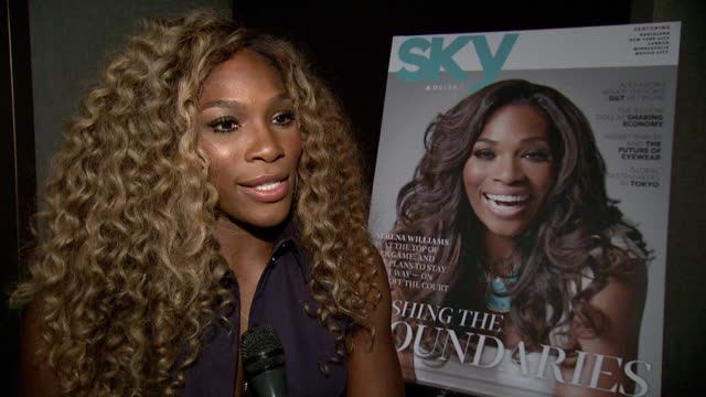 stockvideo's en b-roll-footage met serena williams q&a on working with delta, karaoke, what she travels with and her plans for the us open at the delta open mic with serena williams at... - interview ruw materiaal