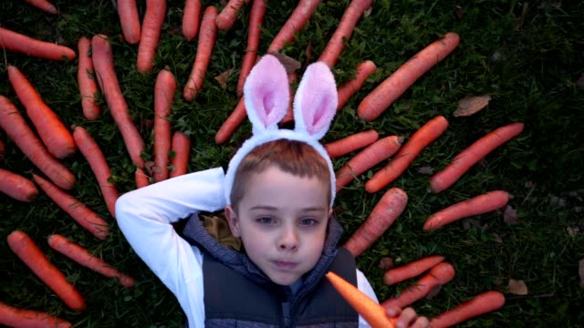 serene child eating carrots during easter - carrot stock videos & royalty-free footage