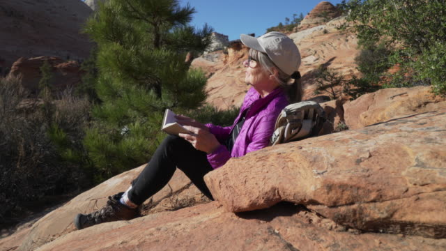 serene portrait of healthy senior woman enjoying nature and reading a book - letteratura video stock e b–roll