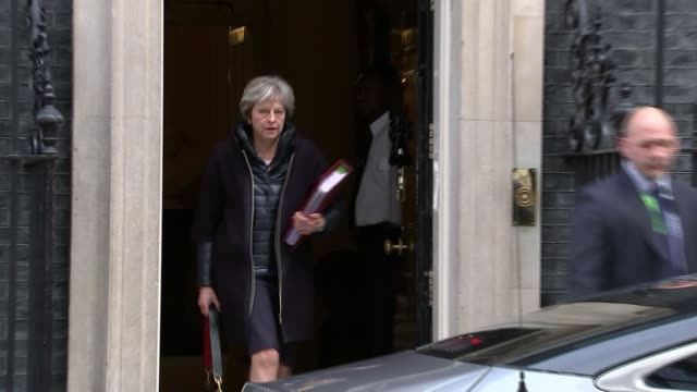 britain to expel 23 russian diplomats london downing street ext theresa may mp from number 10 and into car - sergei skripal stock videos and b-roll footage