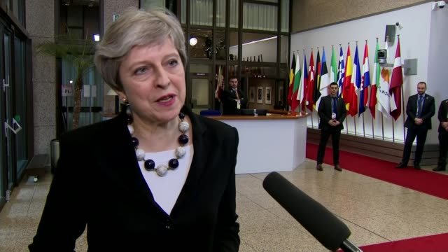 British diplomats expelled from Russia / Theresa May wins EU backing at Brussels summit BELGIUM Brussels EU Summit INT Theresa May MP speaking to...