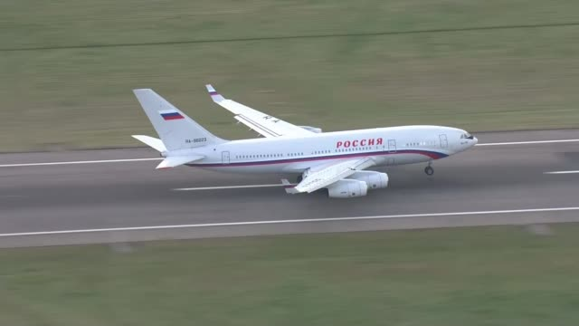 Expelled Russian diplomats leave the UK AIR VIEW / AERIAL Rossiya Airlines plane along taking off from London Stansted Airport