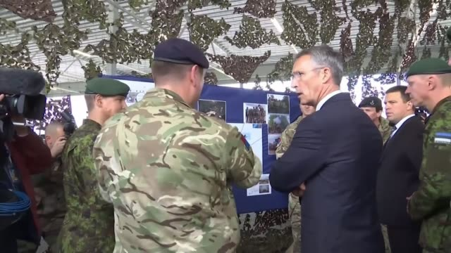 May warns Russia / Allies support the UK Date unknown Various of Jens Stoltenberg talking to soldiers taking part in NATO mission to deter Russian...