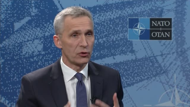 stockvideo's en b-roll-footage met may warns russia / allies support the uk belgium brussels nato headquarters int jens stoltenberg interview sot reporter - geallieerde mogendheden