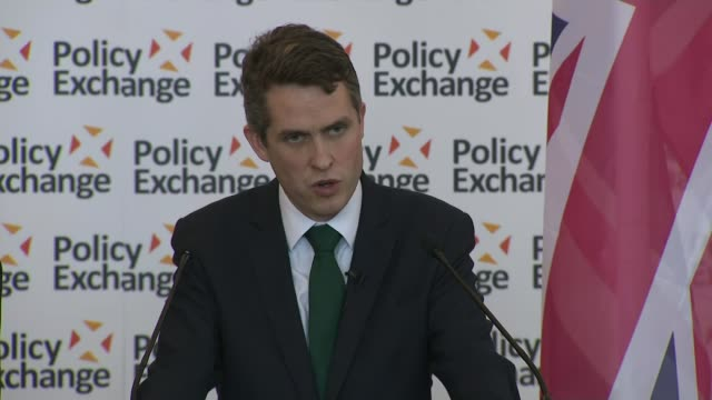 May warns Russia / Allies support the UK ENGLAND Bristol Rolls Royce INT Gavin Williamson MP at podium Gavin Williamson MP speaking SOT