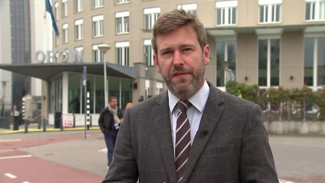 opcw inspectors back uk over assessment of nerve agent used netherlands the hague ext reporter to camera - the hague stock videos and b-roll footage