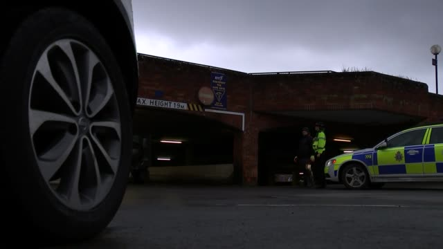 police seal off sainsbury's car park england wiltshire salisbury ext police officers sealing off the car park of a sainsbury's supermarket / police... - sergei skripal stock videos and b-roll footage