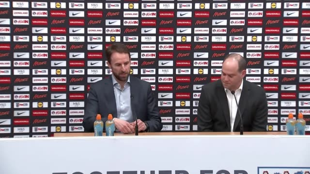 southgate rejects world cup boycott calls england staffordshire st george's park int gareth southgate into room for press conference gareth southgate... - sergei skripal stock videos and b-roll footage