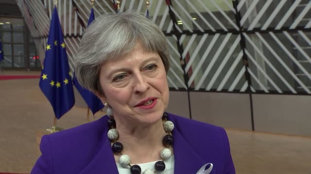theresa may attends eu council meeting belgium brussels int theresa may mp and sir tim barrow along theresa may mp speaking to press sot jeanclaude... - minister president stock videos and b-roll footage