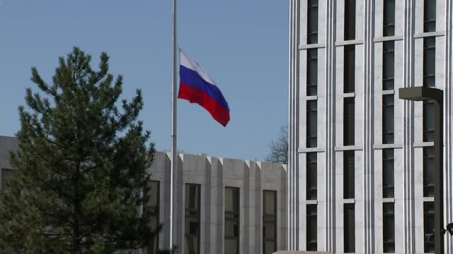 us expels russian diplomats / donald trump reaction usa washington dc ext sign 'embassy of the russian federation' on wall car arriving at russian... - sergei skripal stock videos and b-roll footage