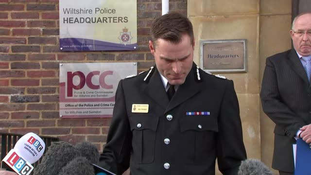 Police press statements ENGLAND Wiltshire Devizes Wiltshire Police Headquarters EXT Angus MacPherson speaking to press SOT it's particularly shocking...