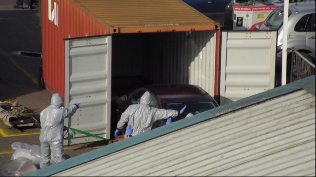 sergei skripal's car being removed in a secure container attached to a lorry - removing stock videos & royalty-free footage