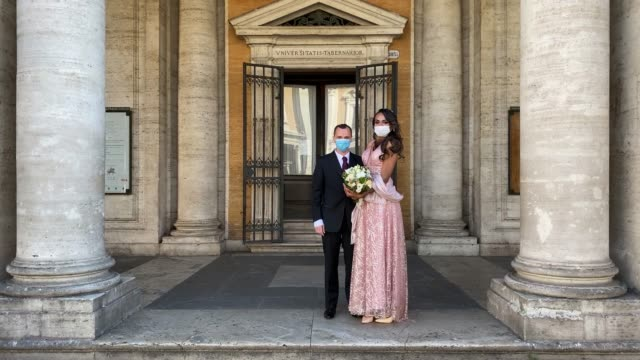 sergio and sophia wearing the protective masks attend their wedding ceremony at campidoglio during the coronavirus pandemic, on april 24, 2020 in... - epidemic stock videos & royalty-free footage