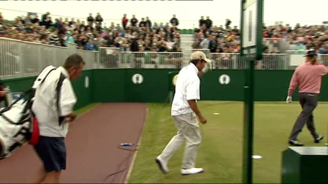 sergio garcia practising before the open championship; more shots of garcia along, signing autographs, arriving at driving range - driving range stock videos & royalty-free footage