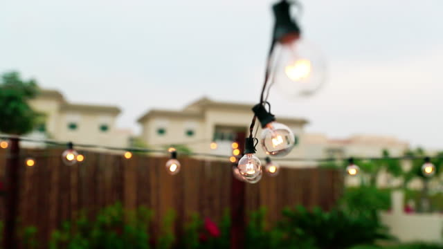 series lights on a patio on a patio - patio stock videos & royalty-free footage