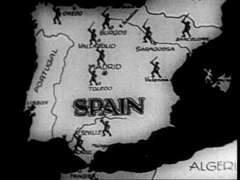 a series of animations over a map of spain showing fascist support from italy and germany and a photo montage of the three rebel fascist generals... - bürgerkrieg stock-videos und b-roll-filmmaterial