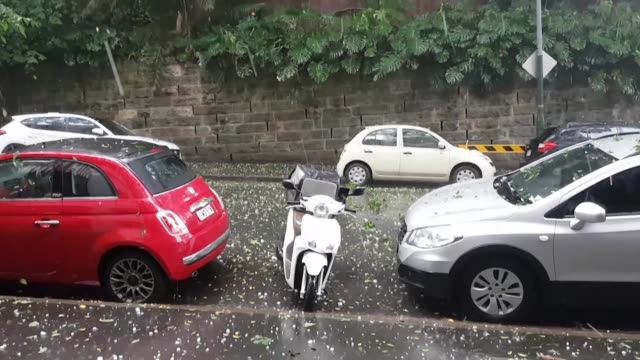 a series of lightning and hailstorms in sydney pummelled cars with ice blocks the size of tennis balls - damaged stock videos & royalty-free footage