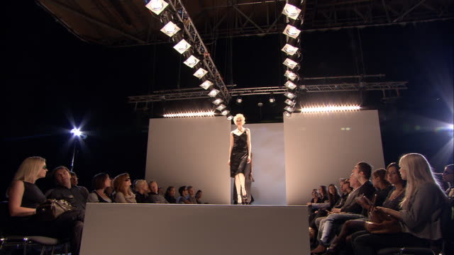 la ws series of male and female models walking and posing on catwalk in front of audience at fashion show/ london, england - fashion show stock videos & royalty-free footage