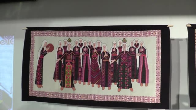 a series of tapestries embroidered by palestinian women seek to raise awareness in central london about the palestinian people's 70yearold right to... - lebanon country stock videos & royalty-free footage